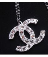 AUTHENTIC Chanel Classic Large CC Logo Necklace Square Crystal Pendant - $479.99