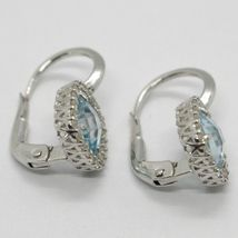 18K WHITE GOLD LEVERBACK EARRINGS CUSHION BLUE TOPAZ, ZIRCONIA FRAME, ITALY MADE image 4