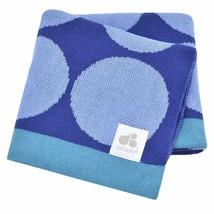 Just Born   Jacquard Baby Blanket, 100% Soft Knit Cotton   Blue Circles,... - $14.80