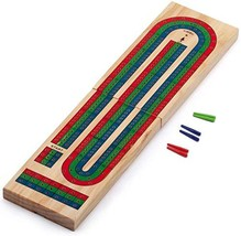 Wooden Folding 3-Track Color Coded Cribbage Board - $22.87