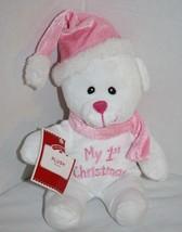 """Dan Dee My 1st First Xmas Bear 7"""" Stuffed 2016 Pink Plush Hat Soft Toy L... - $24.10"""