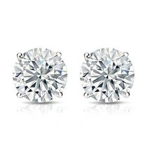 8mm Round Single Forever One DEF Moissanite Push Back Earring Stud - $380.16