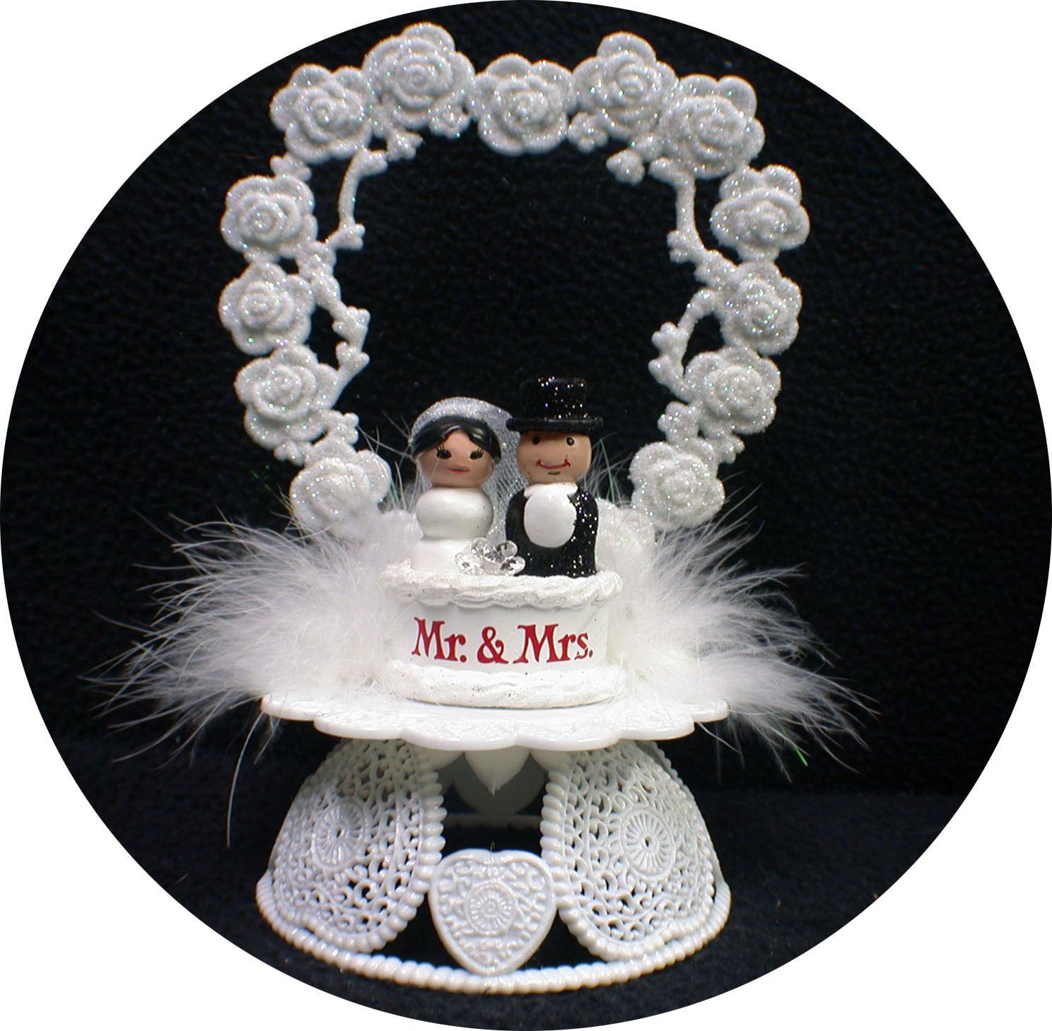 Adorable Mr & Mrs Wedding Cake Topper Bride Groom Top Heart Ornament centerpiece - $19.31