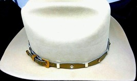 NEW HATBAND Scalloped Metallic BRONZE w/ GOLD CRYSTALS + SILVER CONCHOS Hat Band - $26.06