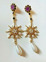 Designer Inspiration (Betsey)  Flower Crystal and Pearls Star Drop Earrings - $8.00