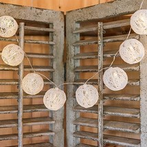 String Of Lights With Round White Lace Lanterns - Battery Led (Pack Of 1)  - $12.99