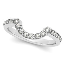 Half Eternity 14k White Gold Plated White CZ Diamond Wedding Band Curved Ring   - $59.99