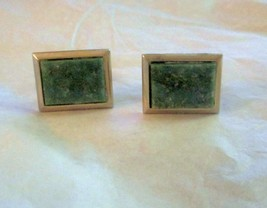 Vintage Swank green stone gold tone cuff links - $16.82