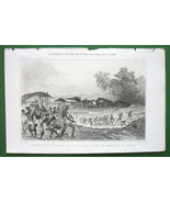 NEW GUINEA Natives Before Combat - 1843 Antique Print Engraving - $7.27