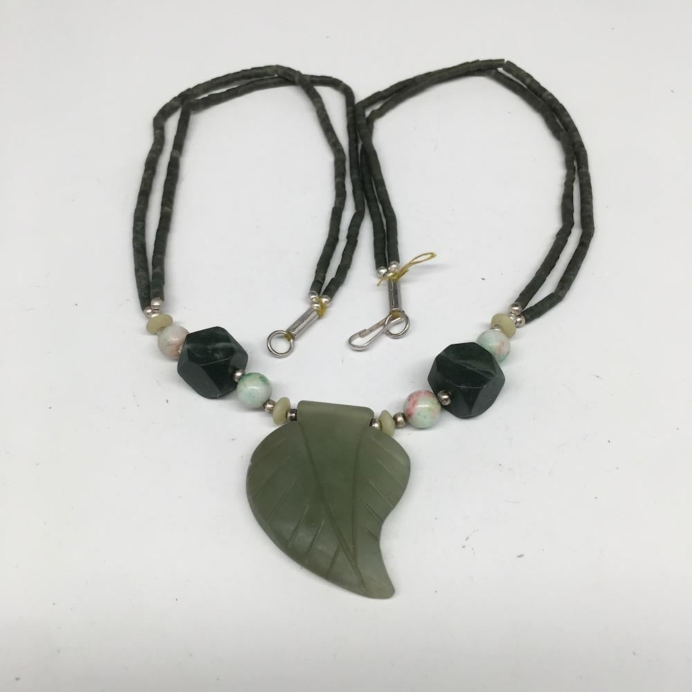 "47.2g,Double-Strand Green Nephrite Jade Beaded Carved Pendant Necklace,24"" NPH29"