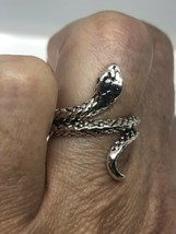VINTAGE SNAKE RING ADJUSTABLE SILVER WHITE BRONZE - €23,25 EUR