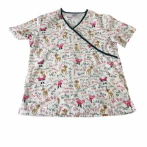 Rudolph The Red Nosed Reindeer Nursing Scrub Top Small White Uniform Shi... - $13.09