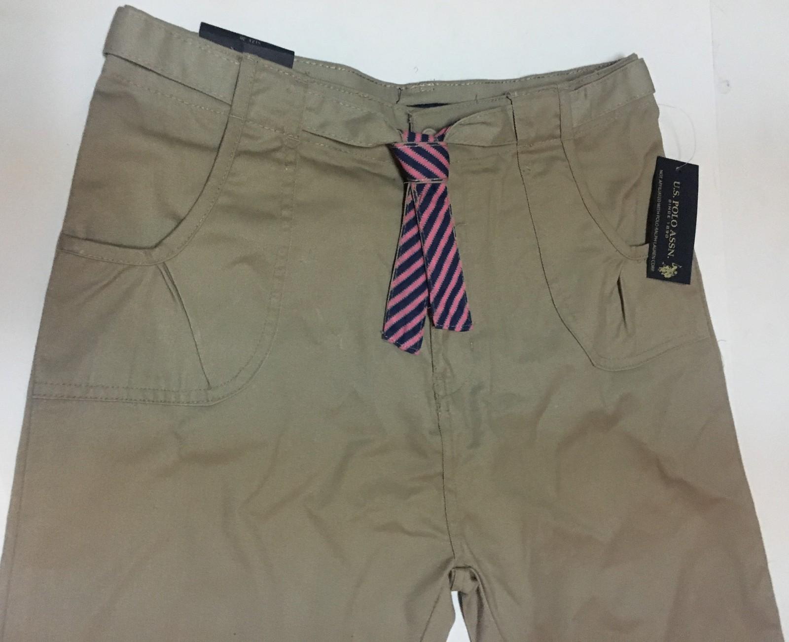 Youth Sz 20 Girl's Khaki Shorts Pink Stripe Tie U.S. Polo
