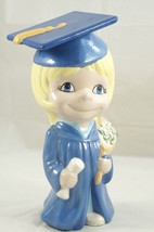 Vintage Graduation Cap & Gown Blonde Hair Blue Eyed Girl Ceramic Hand-Pa... - $18.87