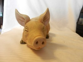 """Light Tan Resin Pig  With Smile on Face Laying Down Figurine 13"""" Long 5.... - $51.98"""