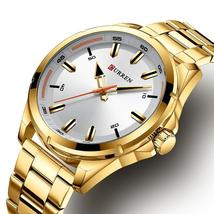 Top Luxury Brand CURREN Gold Watches Mens Quartz Business Wristwatch Clock Fashi - $35.61