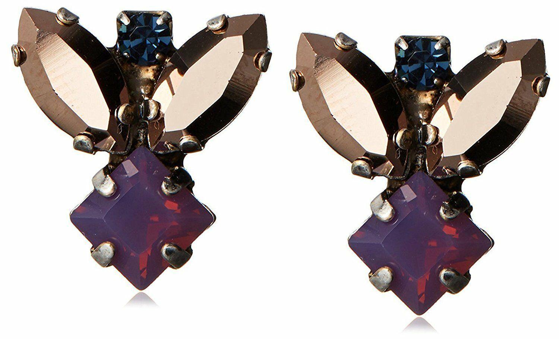 TOVA Multi Color Swarovski Crystal Cluster Honey Bee Bunny Posts Earrings NWT