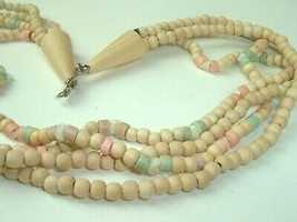Natural Wood Bead Boho Necklace with shell beads pastels 70s vtg multi s... - $9.89