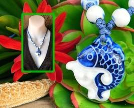 Porcelain Fish Pendant Necklace Child Size Beads Blue White Figural - $17.95