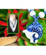 Porcelain Fish Pendant Necklace Child Size Beads Blue White Figural - $17.95