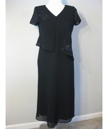 R & K Black Long Fancy Dress Size 10 Petite - $36.00