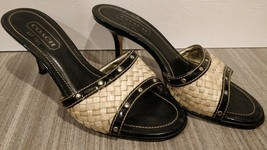Coach Stiletto Open Toe Basket Weave Leather Womens 6B Italy shoes black heels - $47.50