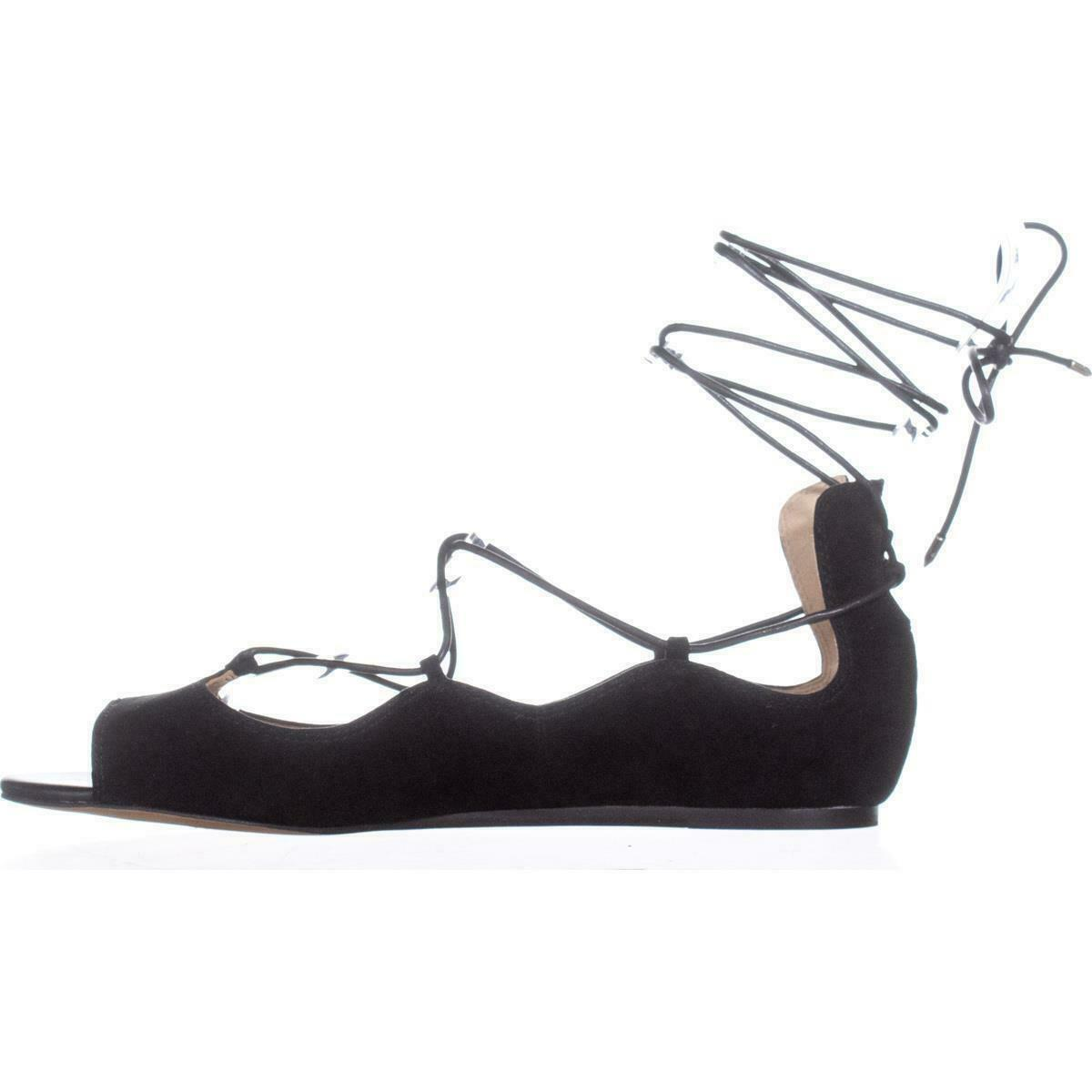Sam Edelman Barbara Lace Up Ballet Flats , Black Suede