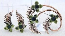 VTG Rare MATISSE RENOIR Green Enamel Copper Flower Brooch Earrings Set - $123.75