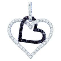 10k White Gold Womens Round Black Color Enhanced Diamond Double Heart Pendant - $413.00