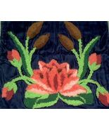 1930s Art Deco hand hooked Pillowcase Water Lily Cattails on Velvet embr... - $28.00