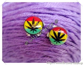Rasta Colored stud earring, Rasta Colored Jewelry - $3.45