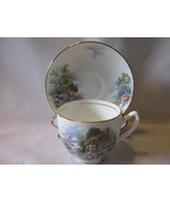 Vintage Duchess English Bone China Cup and Saucer - Country Cottage Pattern - $22.00