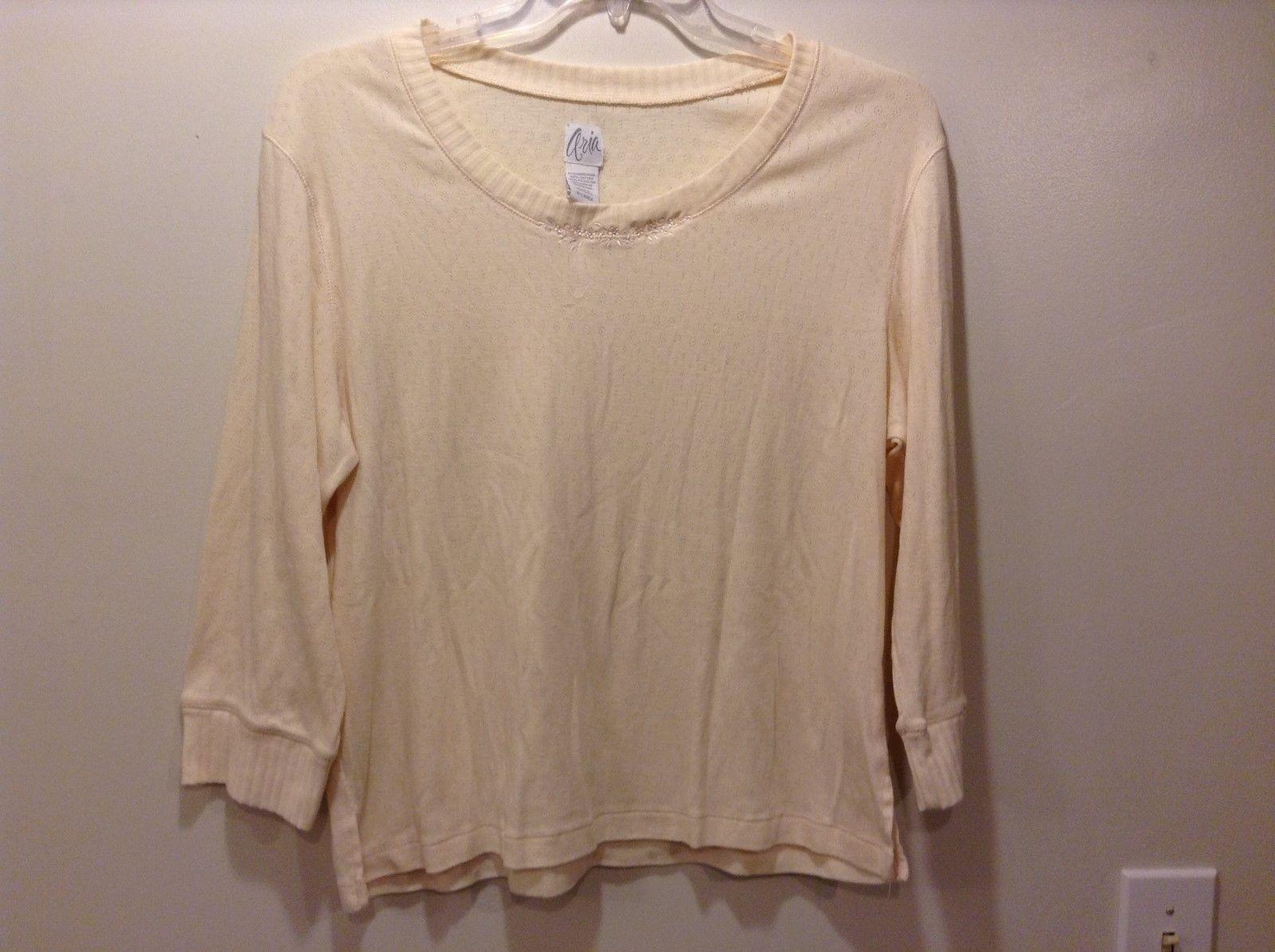 Aria Scoop Neck Ivory Sweater w Embroidered Neckline Sz XL
