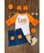 US Girls 2 PC Skirt Set  Halloween Fall Cutest Pumpkin Denim Skirt Set - $29.99
