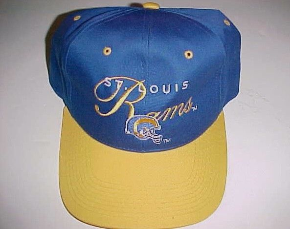 St. Louis Rams NFL NFC 90s Adult Unisex Blue Yellow Horn Cap Hat 1 Size Fit All