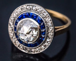 Antique Rose Cut CZ Diamond Calibre Sapphire Engagement Ring 925 sterling silver - £62.14 GBP