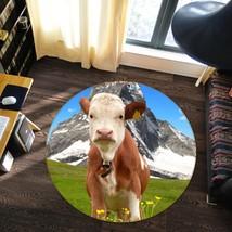 3D Lawn Cattle Animal 24 Non Slip Rug Mat Room Mat Round Elegant Carpet UK Carly - $106.68+