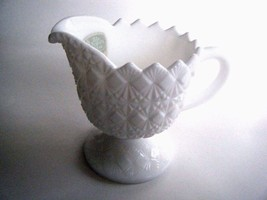 Fenton Olde Virginia Glass Milk Glass Creamer Fine Cut & Block Pattern - $17.77