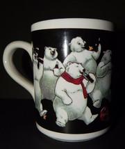 Coca Cola White Mug 12 Polar Bears Scarf 1996 Black Gold Stars Original ... - $19.79
