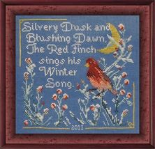 Red Finch's Winter Song cross stitch chart Tempting Tangles  - $8.10