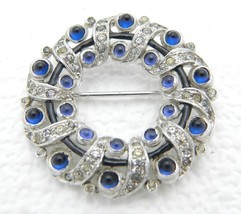 1935 KTF Signed Alfred Philippe Trifari Rhodium Blue Cabochon Wreath Brooch - $297.00