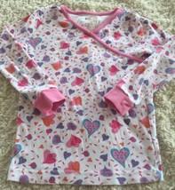 Kirkland Girls White Pink Purple Blue Hearts Long Sleeve Snug Pajama Shi... - $5.48