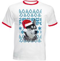 Husky Syberian Christmas Santa P1 - RED RINGER COTTON TSHIRT - $19.53