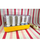 Awesome Vintage MoD Yellow Clairol Style Setter 14pc Hot Curler Roller Set  - $30.00
