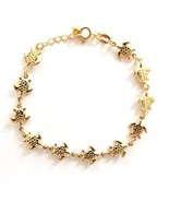 GOLD PLATED HIGH QUALITY NICKLE FREE CHARM BRACELET TURTLE TORTUGA ADJUS... - $14.49