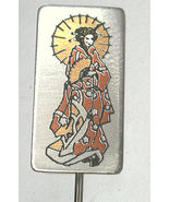 Asian Lady Vintage REED BARTON DAMASCENE stickpin/Pin/brooch - $10.00