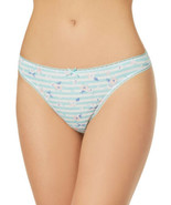 Charter Club Intimates Pretty Floral Striped Print Cotton Thong Panty (F... - $9.80
