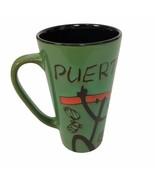 Puerto Rico Stoneware Green Orange Glazed Coffee Tea Cocoa Mug Cup 14 oz - $15.88