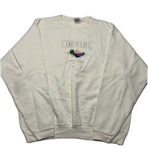 Vintage 90s Cotton Deluxe Corning New York Embroidered Crewneck Sweatshi... - $34.58