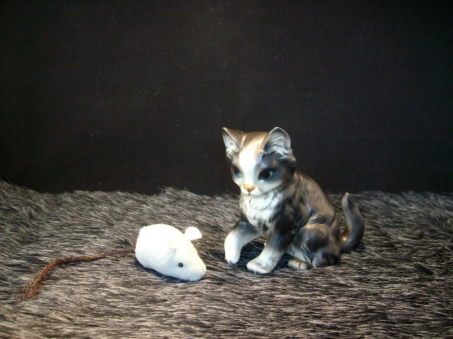 Ceramic Black & White Kitty with Pretty Blue Eyes - Great Collectible Figurine!